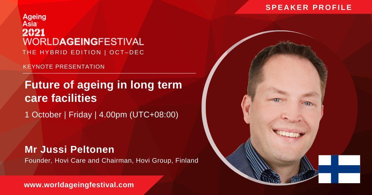 Jussi Peltonen puhumassa Ageing Asia Festivaalilla